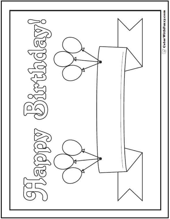 Happy Birthday Balloons Banner - Make a Message on the Ribbon.