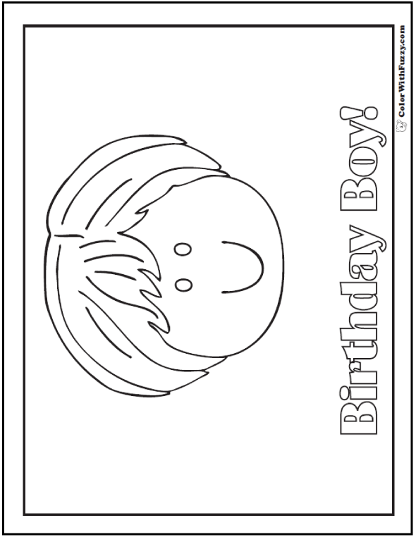Happy Birthday Boy Coloring Pages