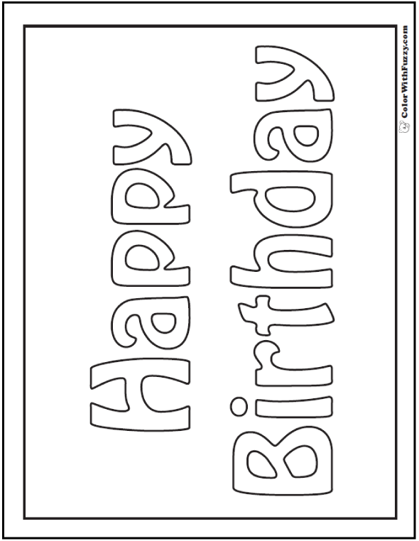 happy birthday cards that print and color in – Birthday Cards to Print and Color