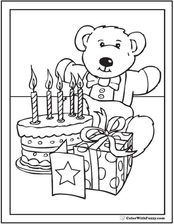 Happy Birthday Teddy Bear Coloring Page - Bear, cake, candles, gift, card theme.