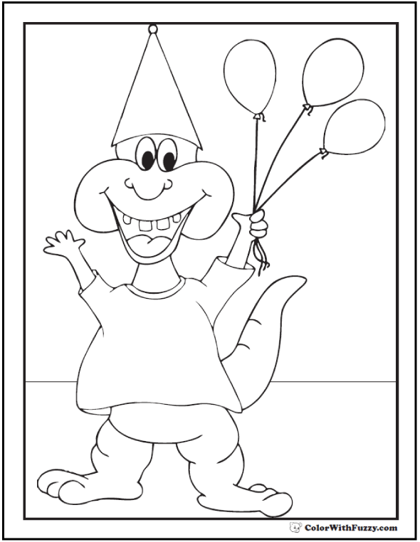 Alligator and Balloons Birthday Coloring Picture