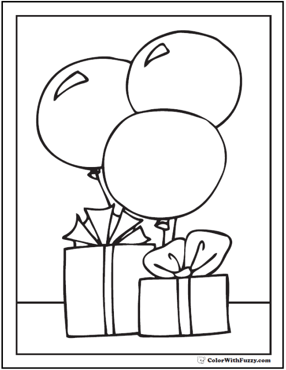 Happy Birthday Coloring - Gifts and balloons theme.