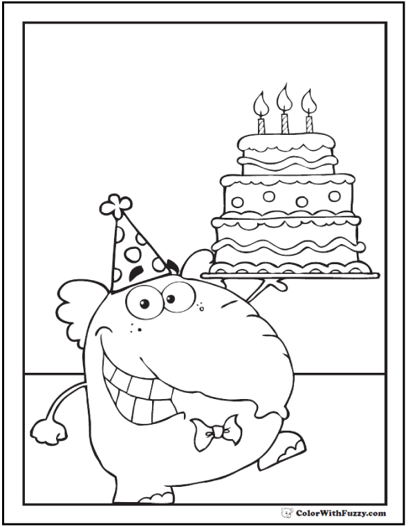 Birthday Elephant Coloring Picture