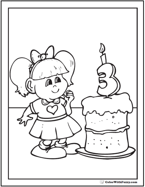 Birthday Girl Coloring Sheet