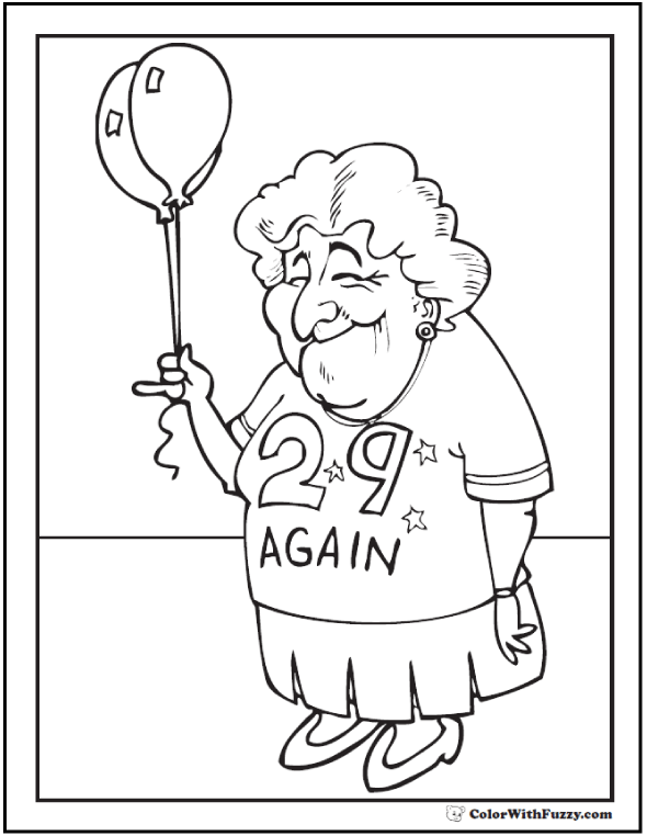 Birthday grandma coloring sheet