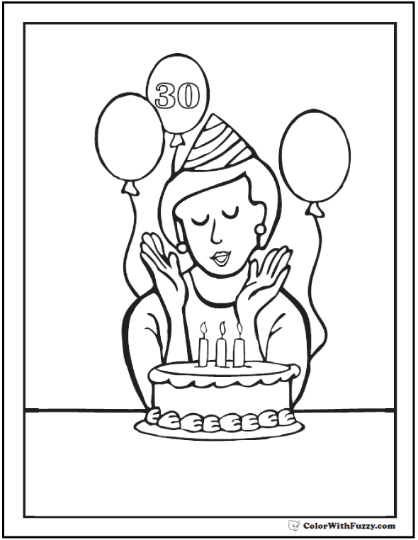 Birthday Mom Coloring Sheet