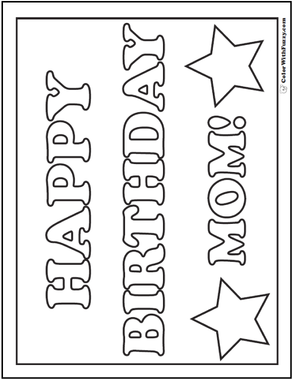 Happy Birthday Mom Banner For Kids To Color