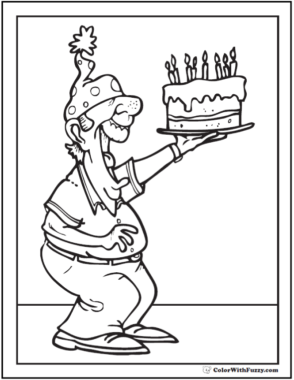 Birthday Papa Coloring Sheet