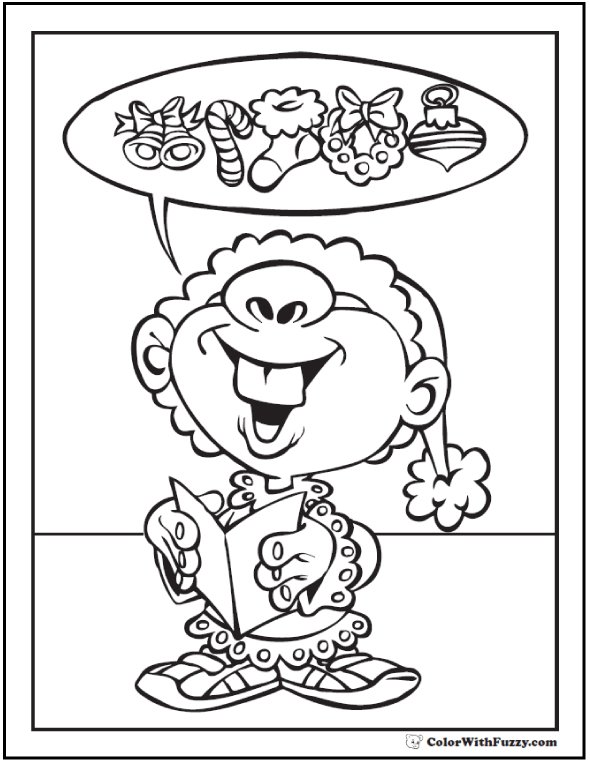 Happy Elf Coloring Sheet: Christmas wishes.