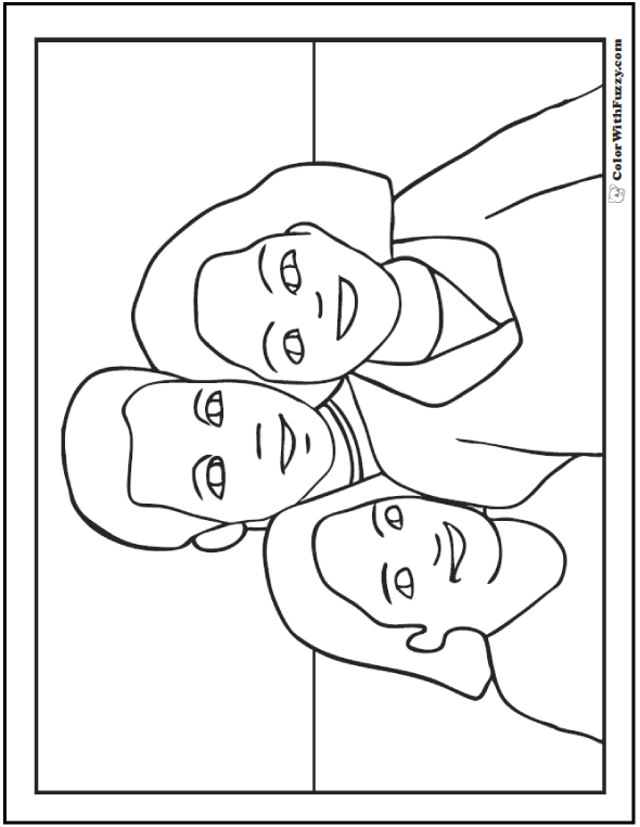 ColorWithFuzzy Happy Father's Day Coloring Pages: Father, mother, and daughter.