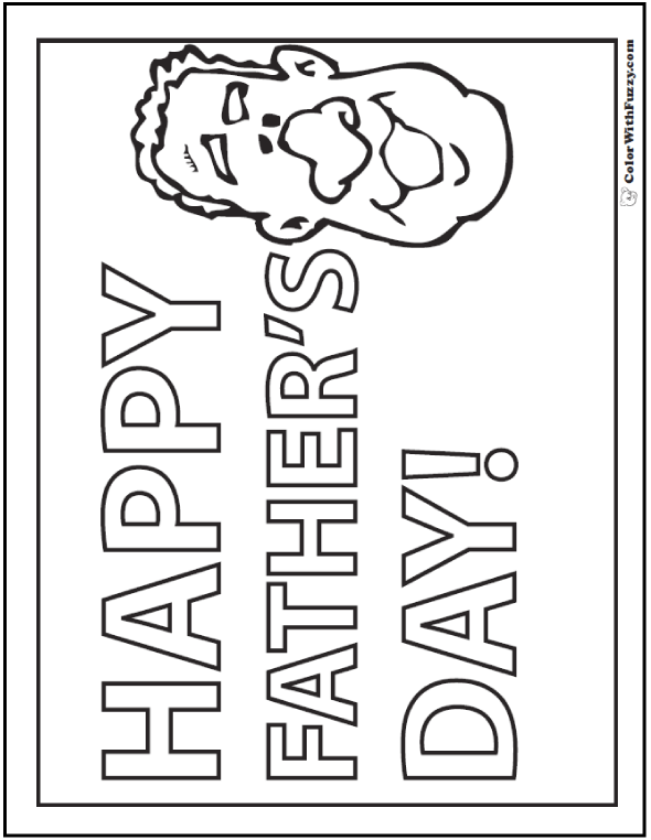 Happy Fathers Day Banner To Color for Dad and Granddad  #FathersDayColoringPages and #KidsColoringPages at ColorWithFuzzy.com