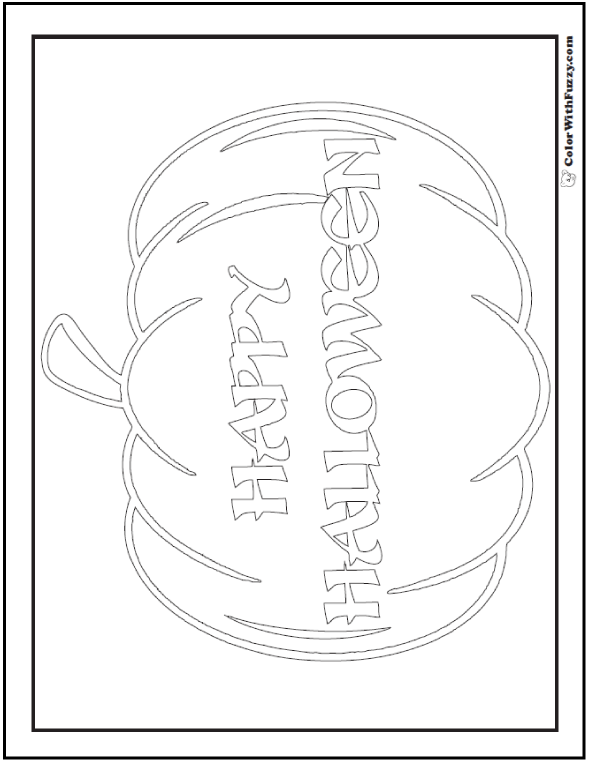Happy Halloween Sign Coloring Picture