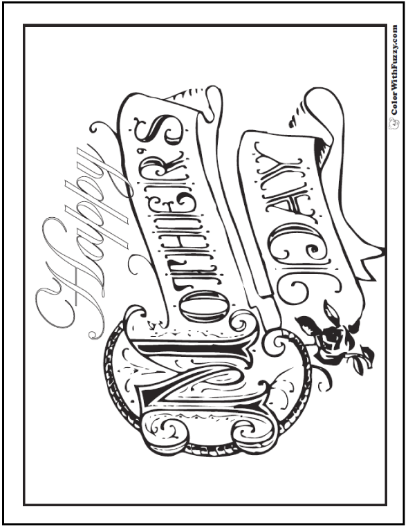Happy Mothers Day Coloring Page: Color a fun picture for Mom or Grandma at ColorWithFuzzy.com!