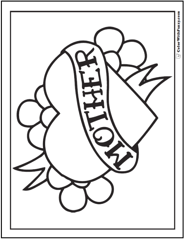 Happy Mother's Day Coloring Picture: Heart, Ribbon, Flowers Banner.