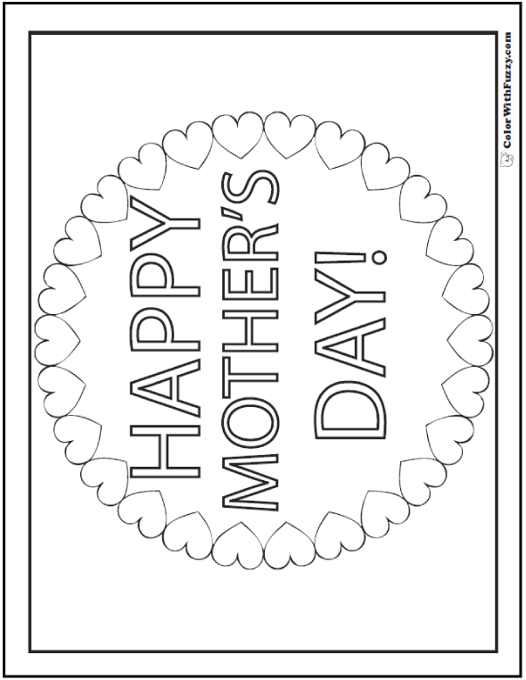 Happy Mother's Day Coloring Printable: Make Mom's day special with a wreath of hearts!