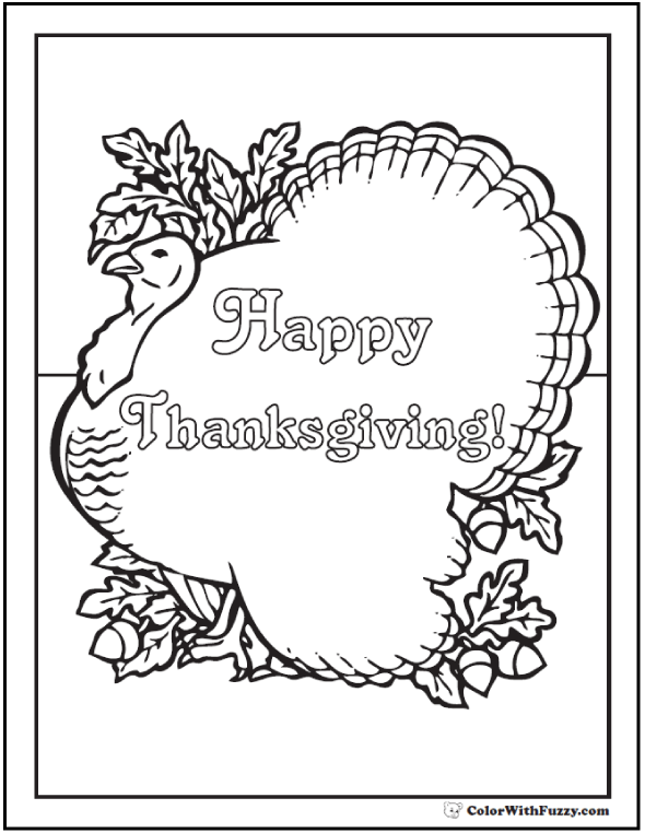 Elegant Happy Thanksgiving Coloring Page