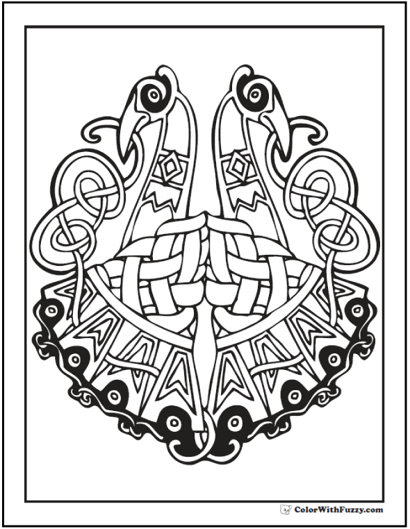 ColorWithFuzzy has a cool Celtic Art Coloring Page with two peacocks bird design.