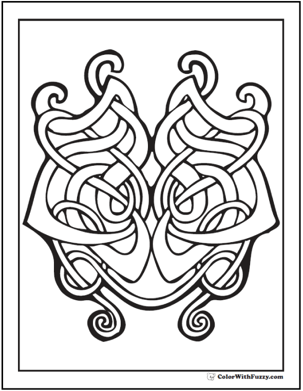 ColorWithFuzzy.com Celtic Coloring Pages: Celtic Harp Design Printable