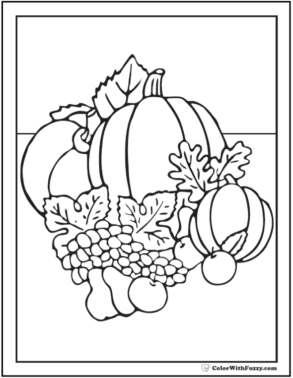 Fall Harvest Coloring Page of pumpkins, grapes, and apples.