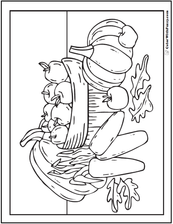 One of Fuzzy's harvest coloring pages: pumpkins, apples, corn and basket.