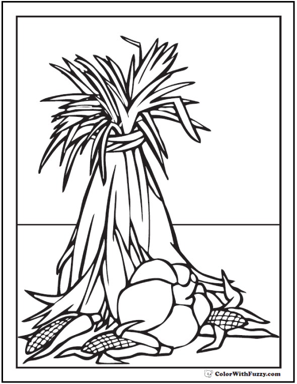 Thanksgiving Harvest Coloring Page: Corn or wheat shock, pumpkin, ears of corn.