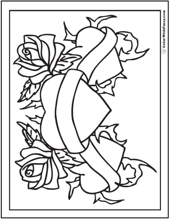 hearts and roses coloring sheet - Rose Coloring Pages