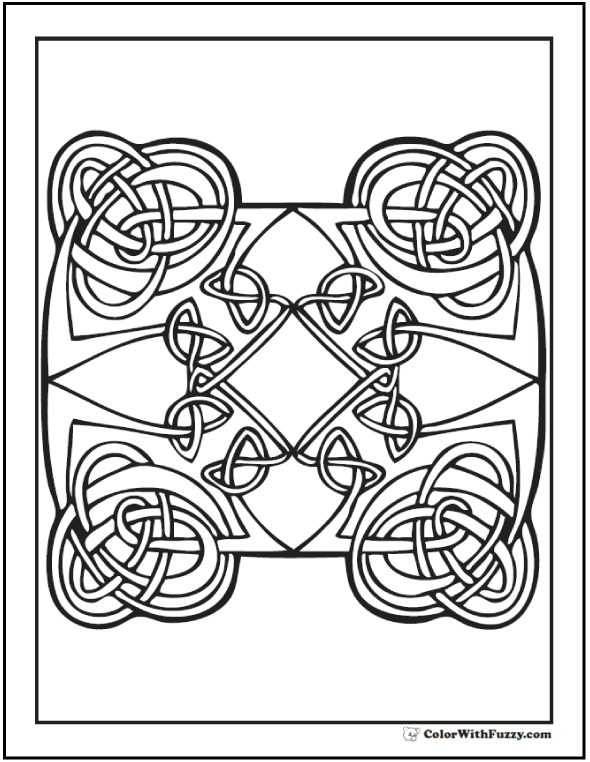 Hearts Celtic Coloring Page: Four Irish knots with diamond and hearts theme.