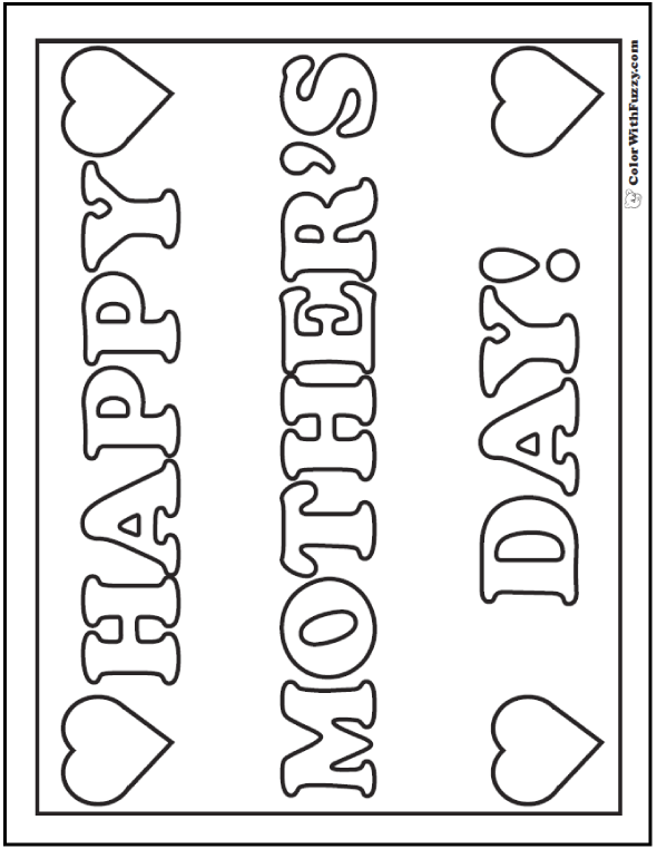 Hearts Mother's Day Coloring Pages: Make a poster for Mom!