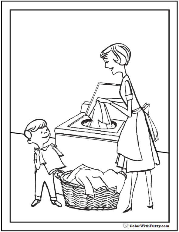 45 mothers day coloring pages print and customize for mom for Helping coloring pages