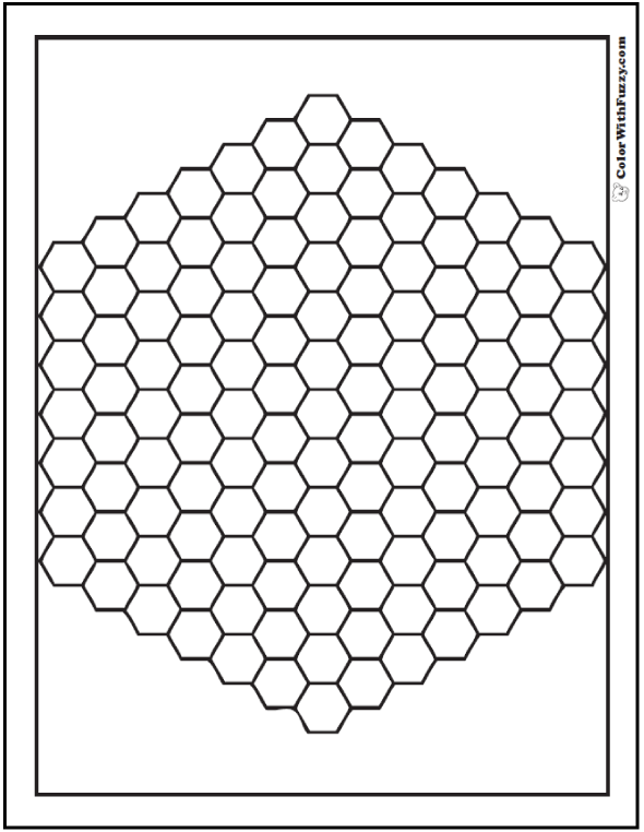 Bee Hive Hex Pattern Coloring Pages
