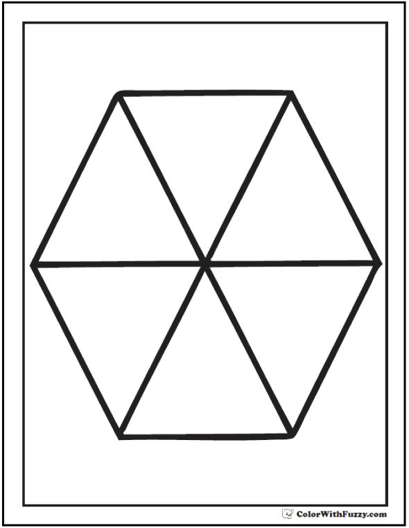 Six Piece Hexagon Coloring Printable