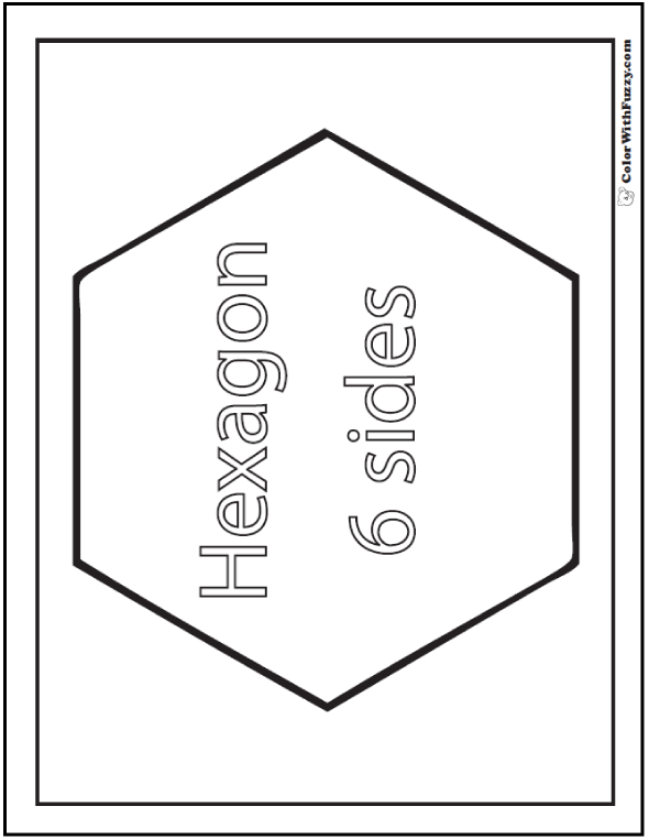 six sides hexagon coloring sheet