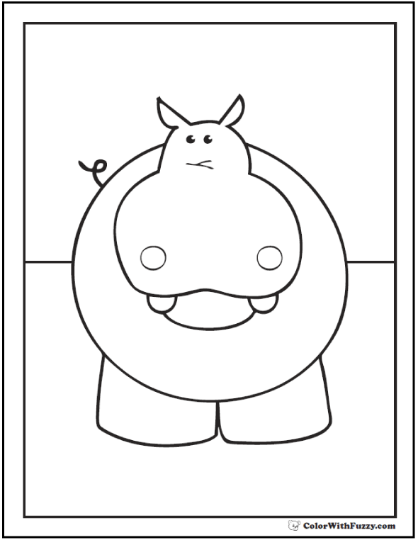 Preschool Hippo Picture For Kids To Color