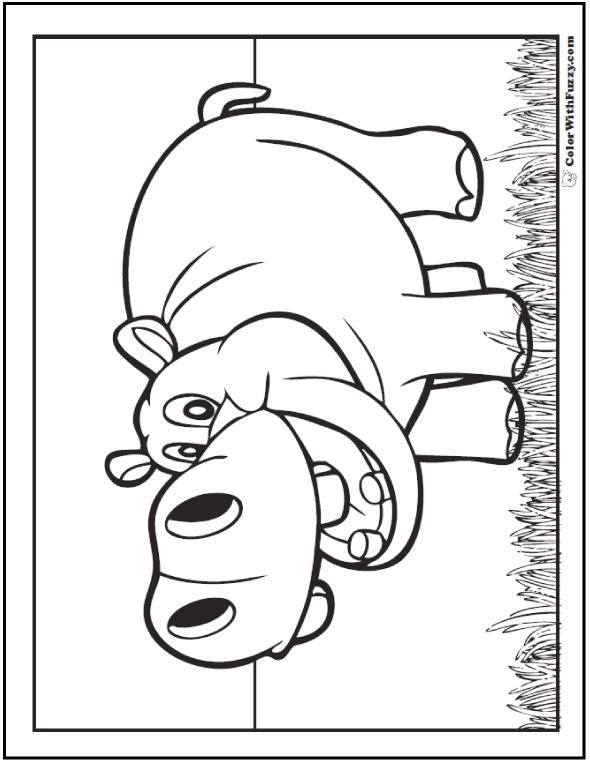Happy Hippo Coloring Pages: Hippo In the Grass.