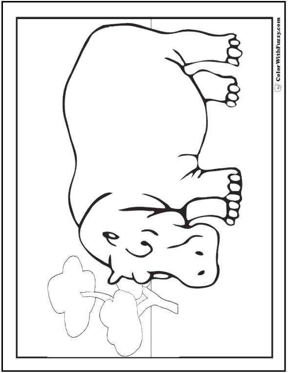 Lone hippo coloring picture: Hippo in field.