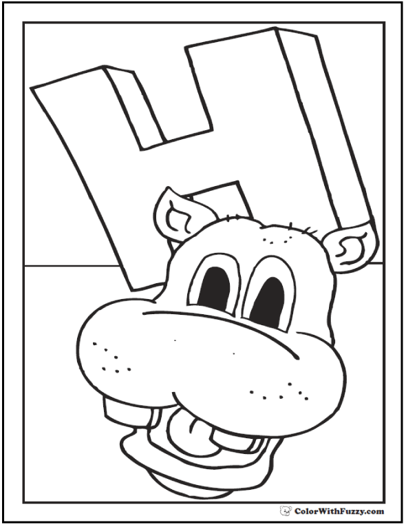 h is for hippo coloring pages - photo #23