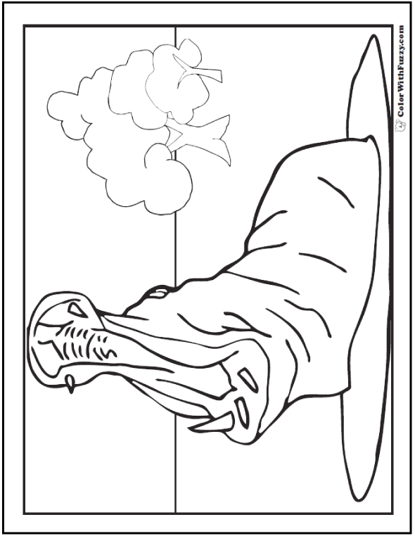 Hippo coloring page of a hippo's wide yawn.