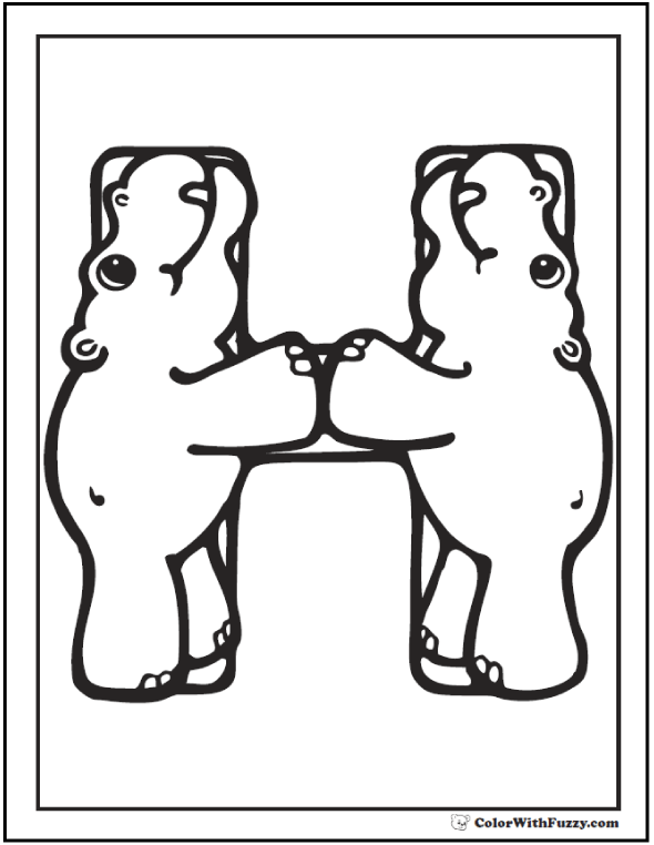 H is for hippopotamus coloring theme.