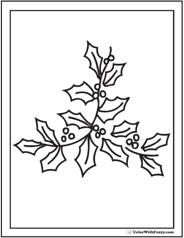 Sprig of Holly Coloring Page.