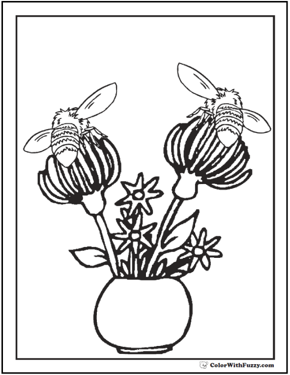 Bee Coloring Pages: Two bees on flowers in vase.