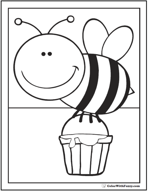 Honey bee coloring page: bee with bucket of honey.