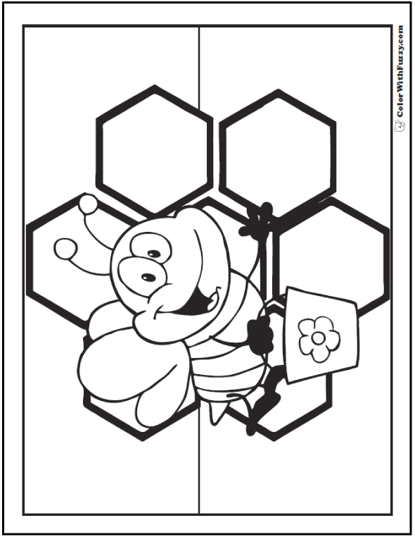 Sweet bee coloring page with honey comb background.