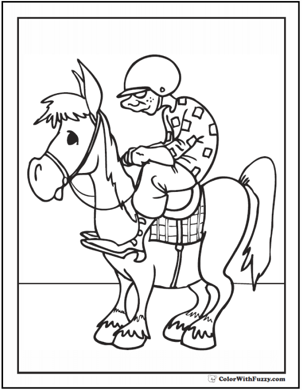 Jockey, Whip, and Horse To Color