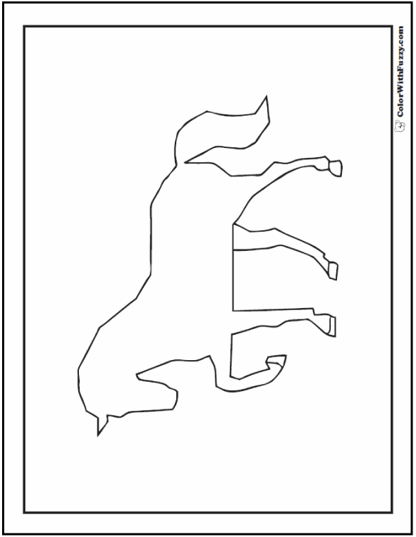 Horse Coloring Sheets: Silhouette or outline.