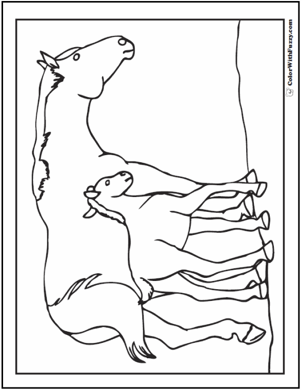 Mother horse and foal coloring page.