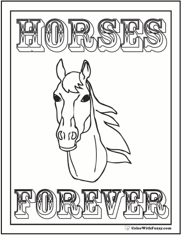 Printable Horse Head Coloring Sheet:Forever Message