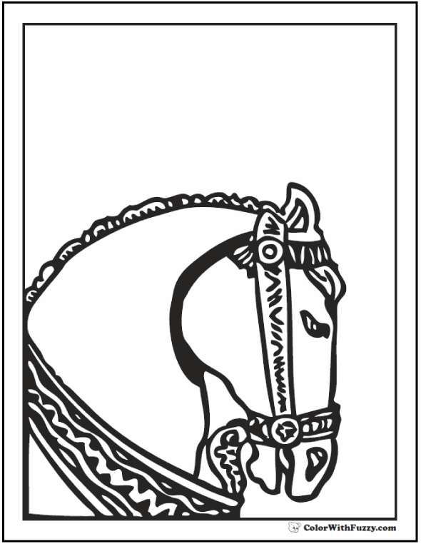 Horse Head Coloring: Roman horse with bridle and collar.