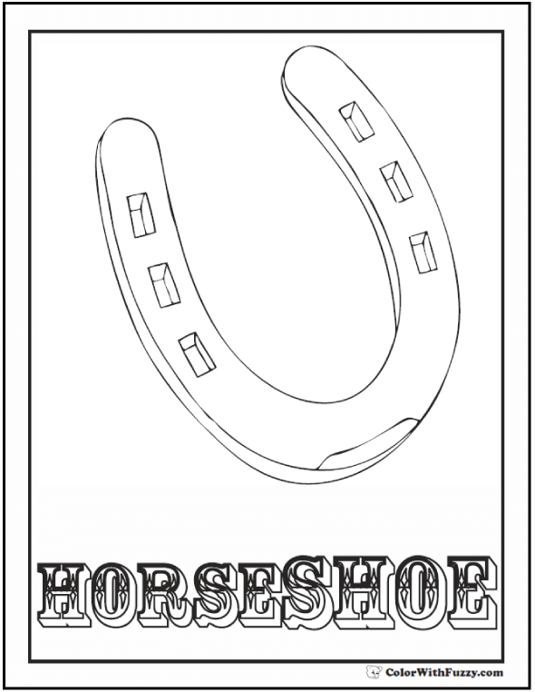 Horseshoe Coloring Sheet, Color For Good Luck!