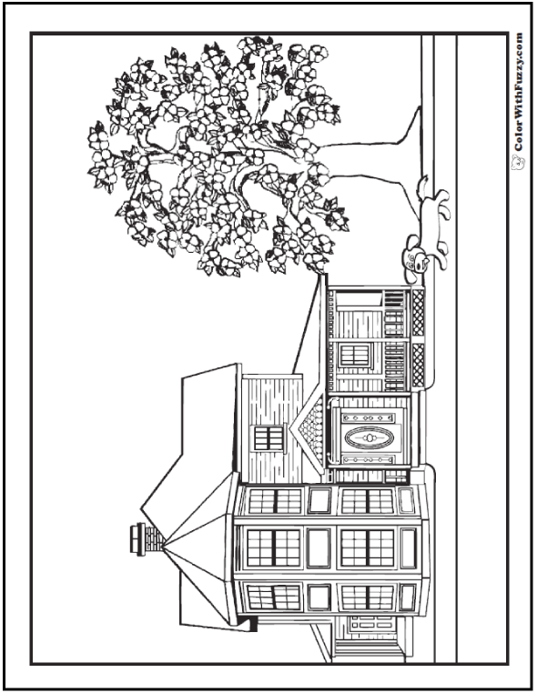 Beautiful house and dog coloring page.