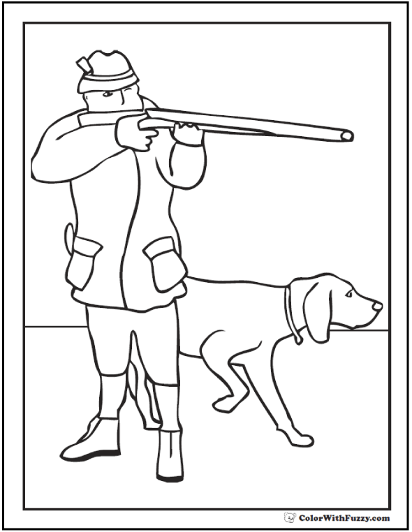 Hunting dog coloring page.